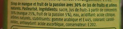 Sirop mangue-fruit de la passion - Ingrediënten