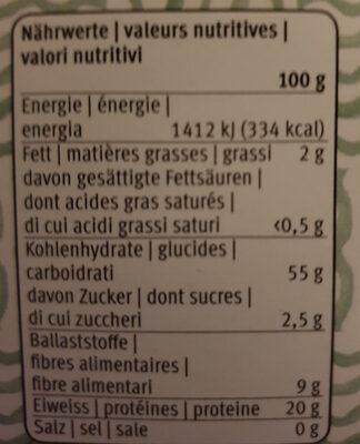 Fusilli Pois Verts - Voedingswaarden - fr