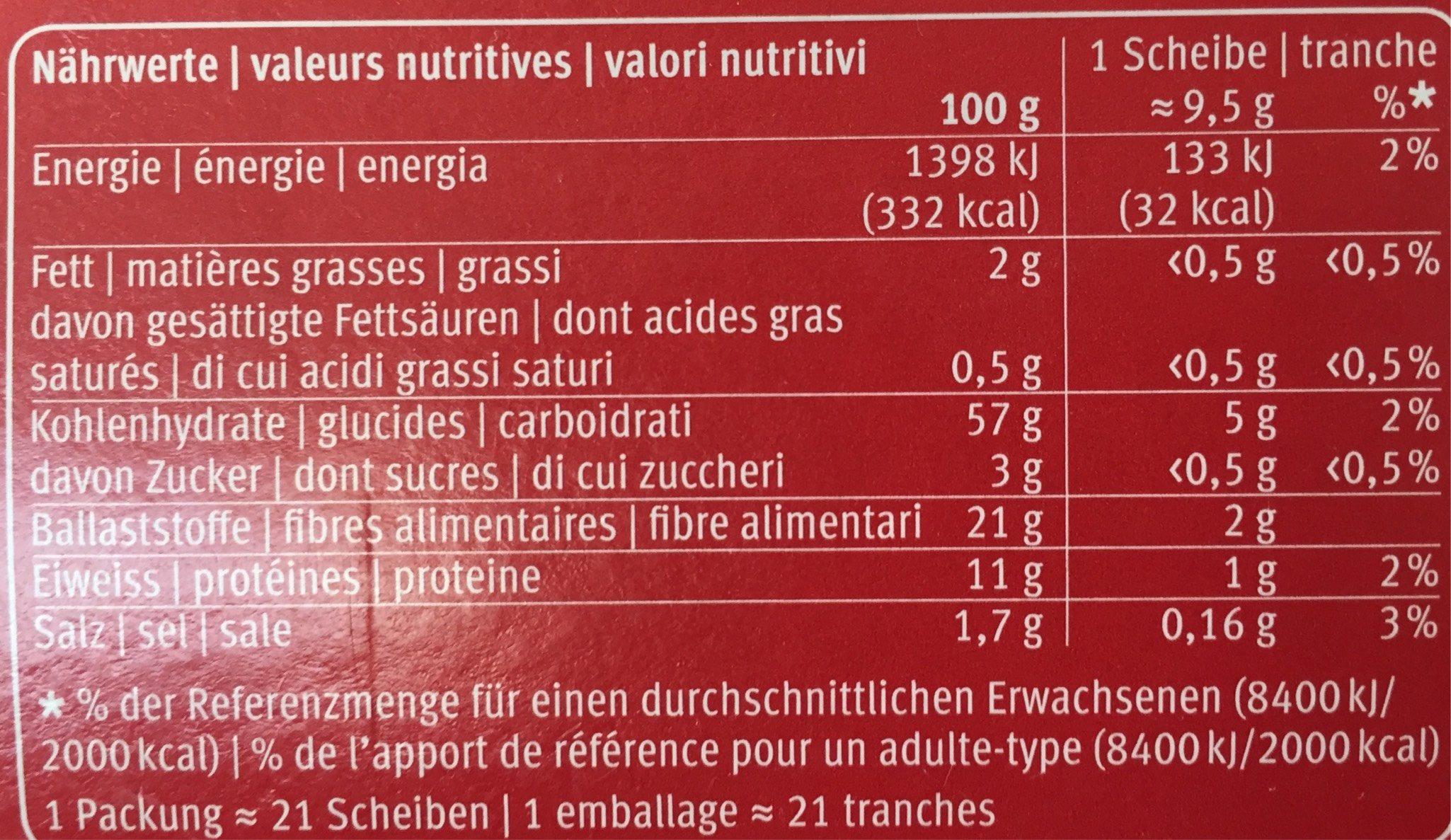 Blévita Crisp Knäckebrot - Voedingswaarden