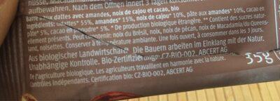 Raw Bar Cacao - Ingrediënten - fr