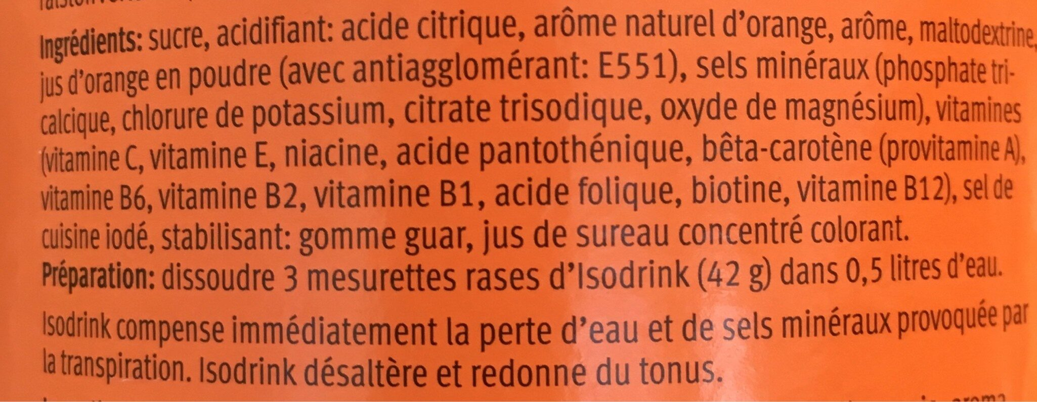 Isodrink Orange - Ingredienti - fr