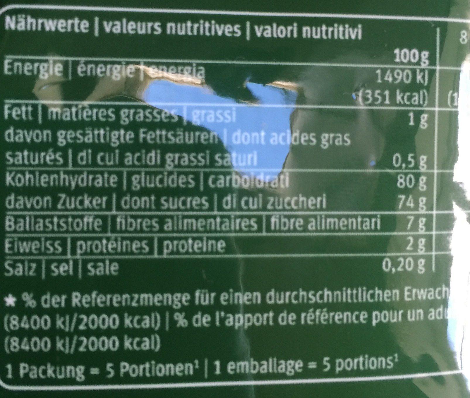 Mangoschnitze Getrocknet - Informations nutritionnelles - fr