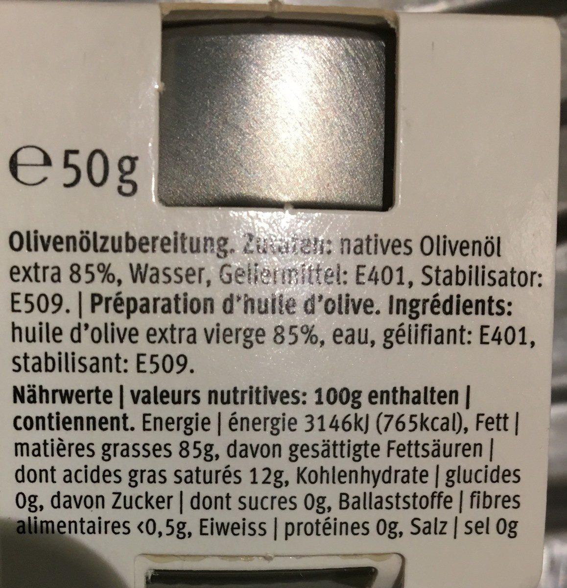 Perles d'huile d'olive extra vierge - Ingrédients