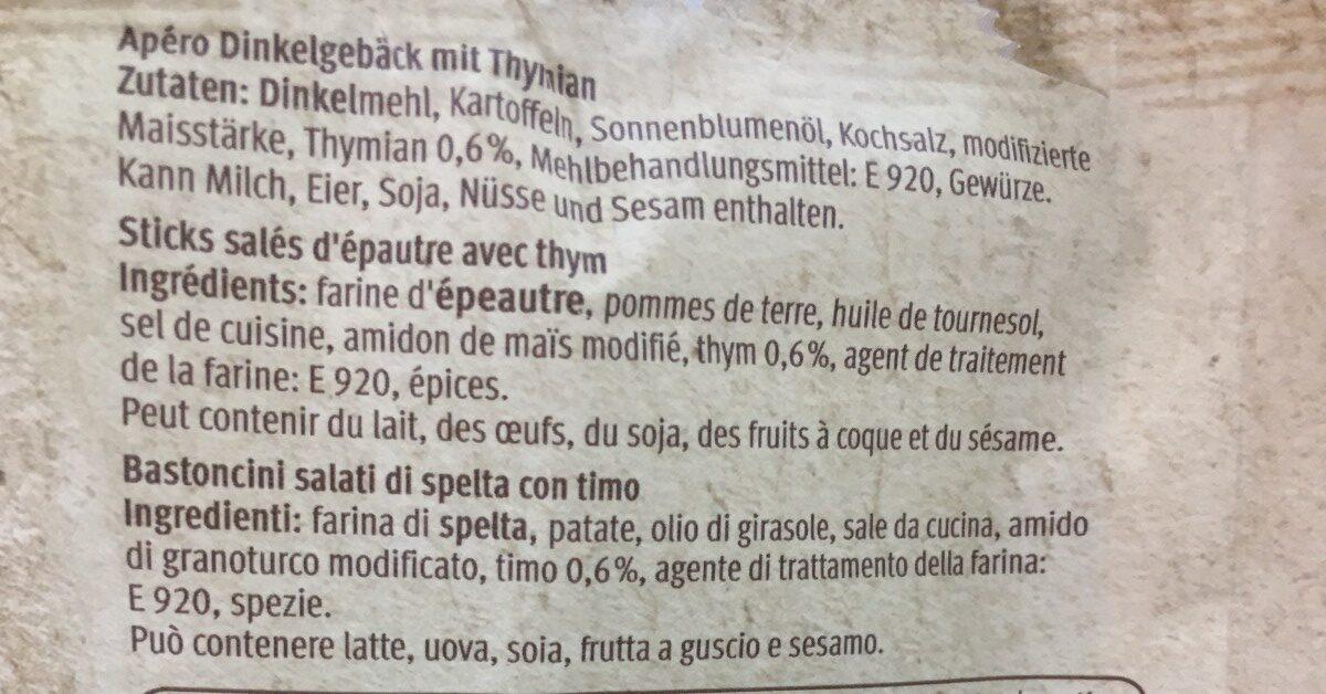 Apéro sticks - Ingredients - en
