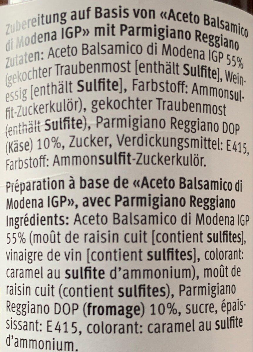 Glassa Con Aceto Balsamico - Ingredienti - fr