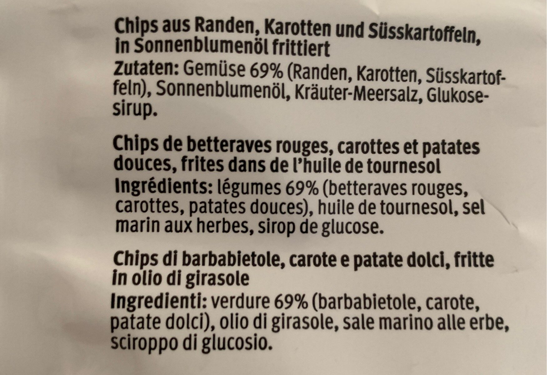 Roots Chips - Ingrédients