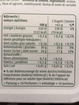 Le sorbet citron - Valori nutrizionali