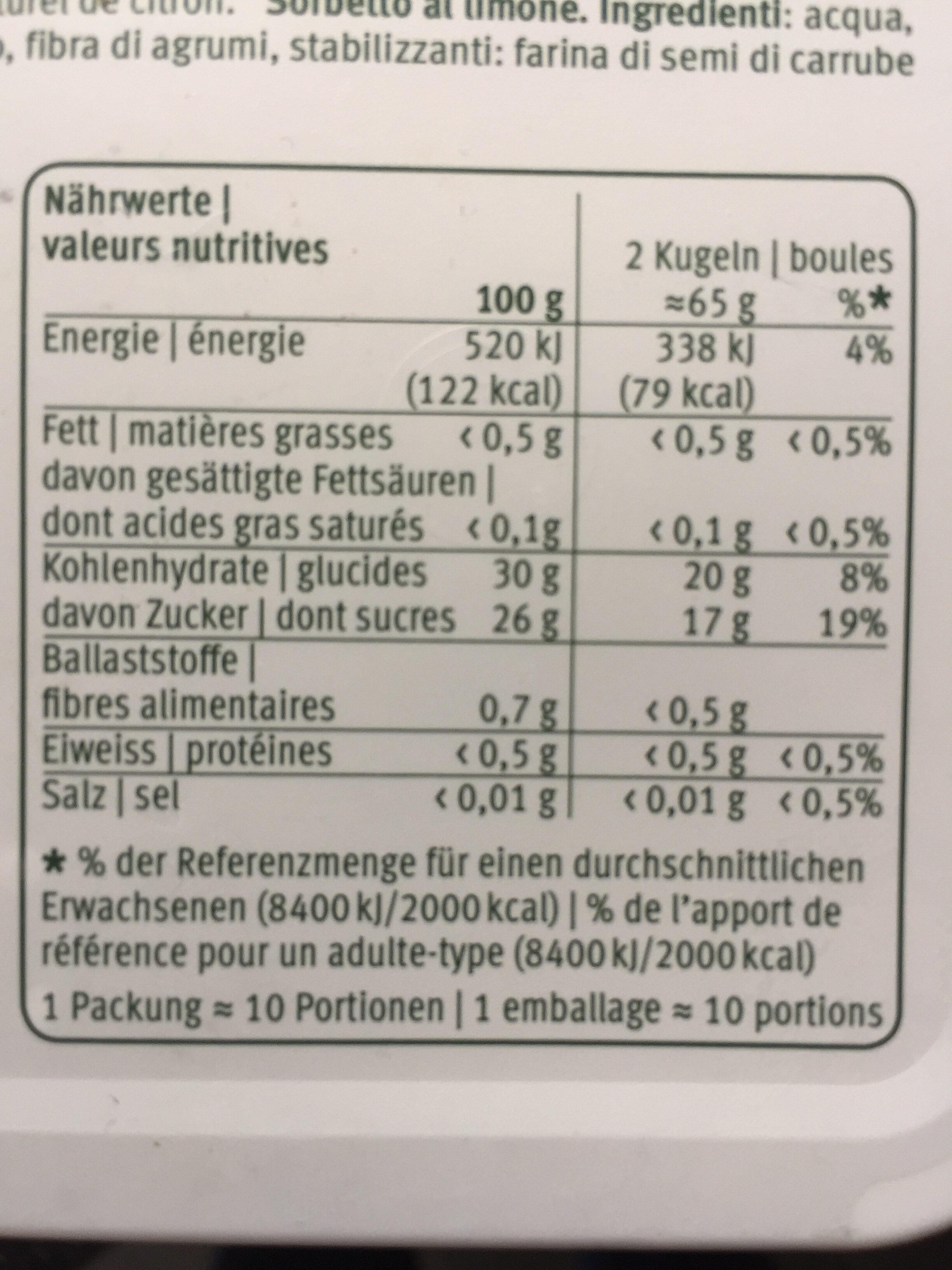 Le sorbet citron - Valori nutrizionali - fr