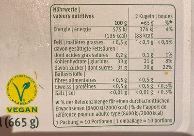 Le sorbet - Nutrition facts - fr