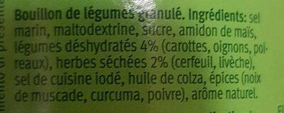 Bouillon de légumes - Ingredients