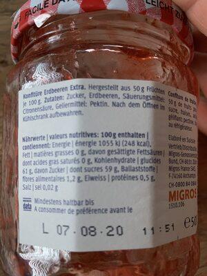 Extra Confiture fraise - Valori nutrizionali - fr
