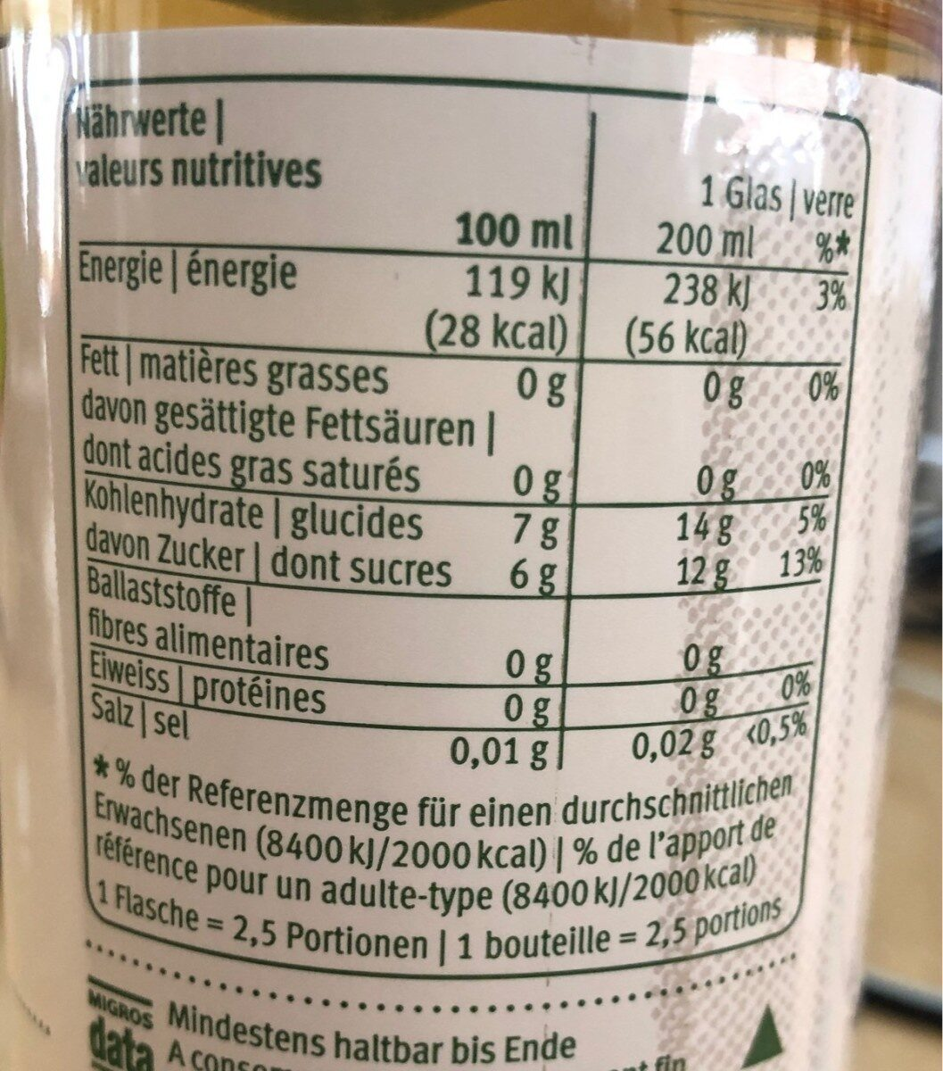 Apfelschorle klar, mit Kohlensäure - Nutrition facts - fr