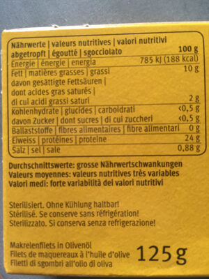 Filets de maquereaux - Nutrition facts
