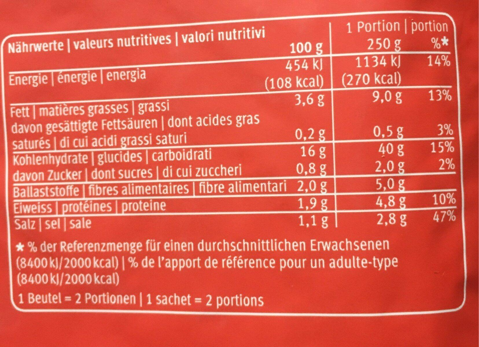 Farm rösti original - Valori nutrizionali - fr