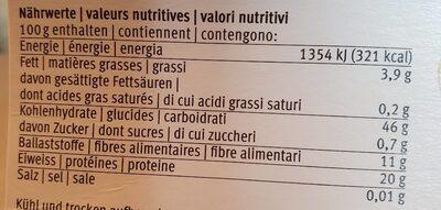 Lentilles rouges - Valori nutrizionali - fr