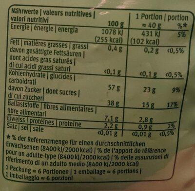 Prunes séchées et sans noyaux - Nährwertangaben - fr