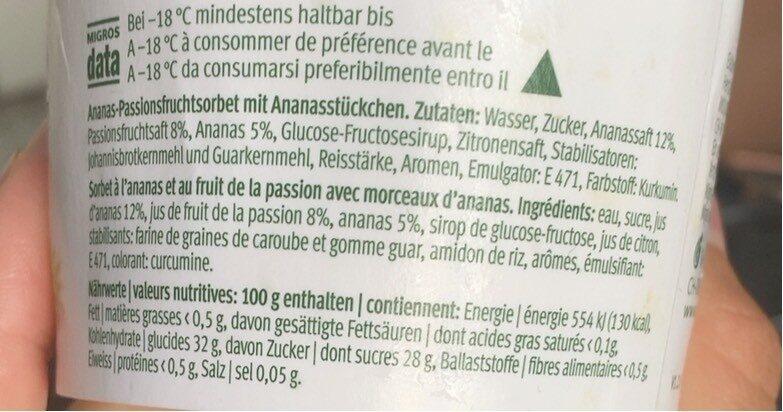 Sorbet ananas fruit de la passion - Informations nutritionnelles - fr