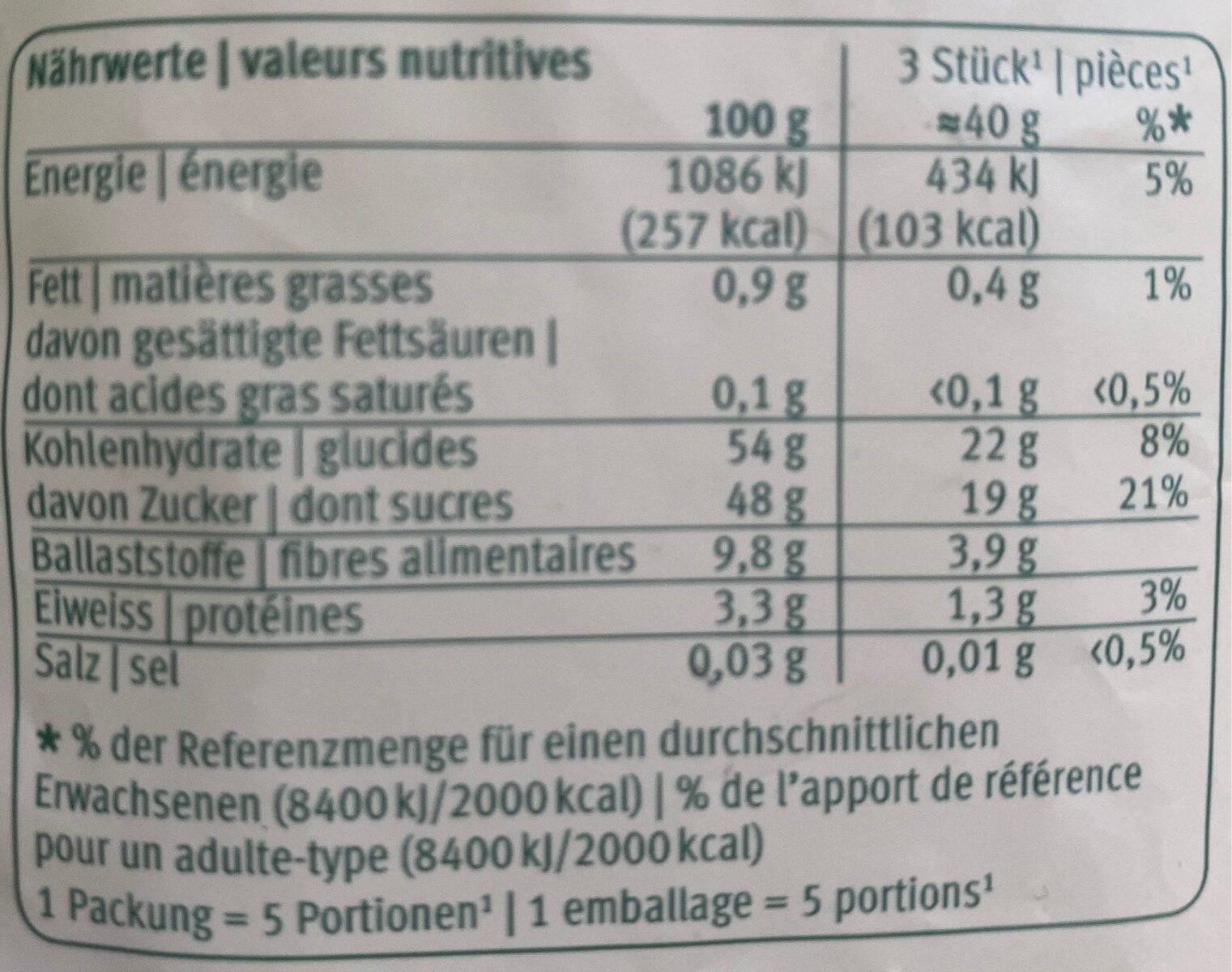 Figues séchées - Valori nutrizionali - fr
