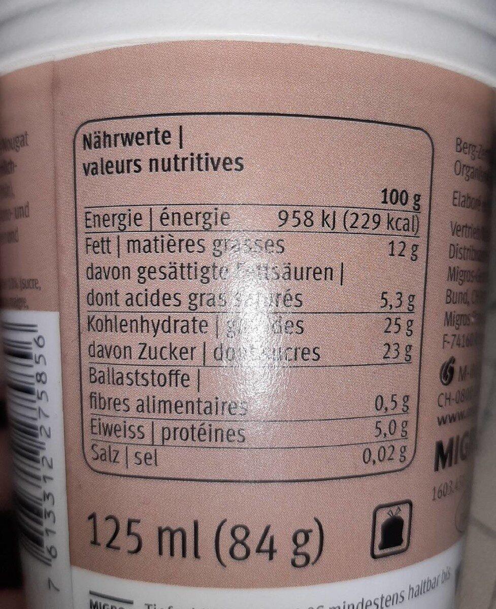 Haselnuss nougat - Informazioni nutrizionali - fr