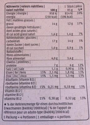 100% Vegi Escalope - Nutrition facts - fr