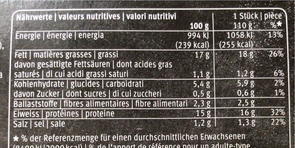 Plant-burger - Informazioni nutrizionali - fr