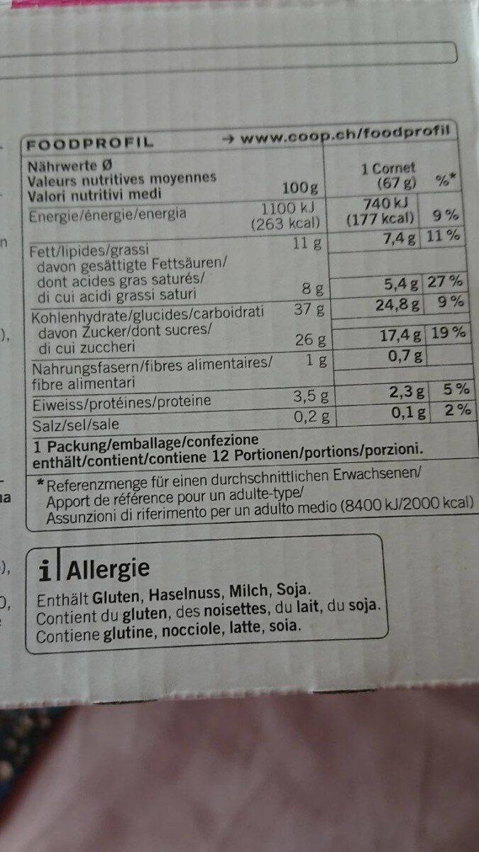 Cornet fraise - Valori nutrizionali - fr