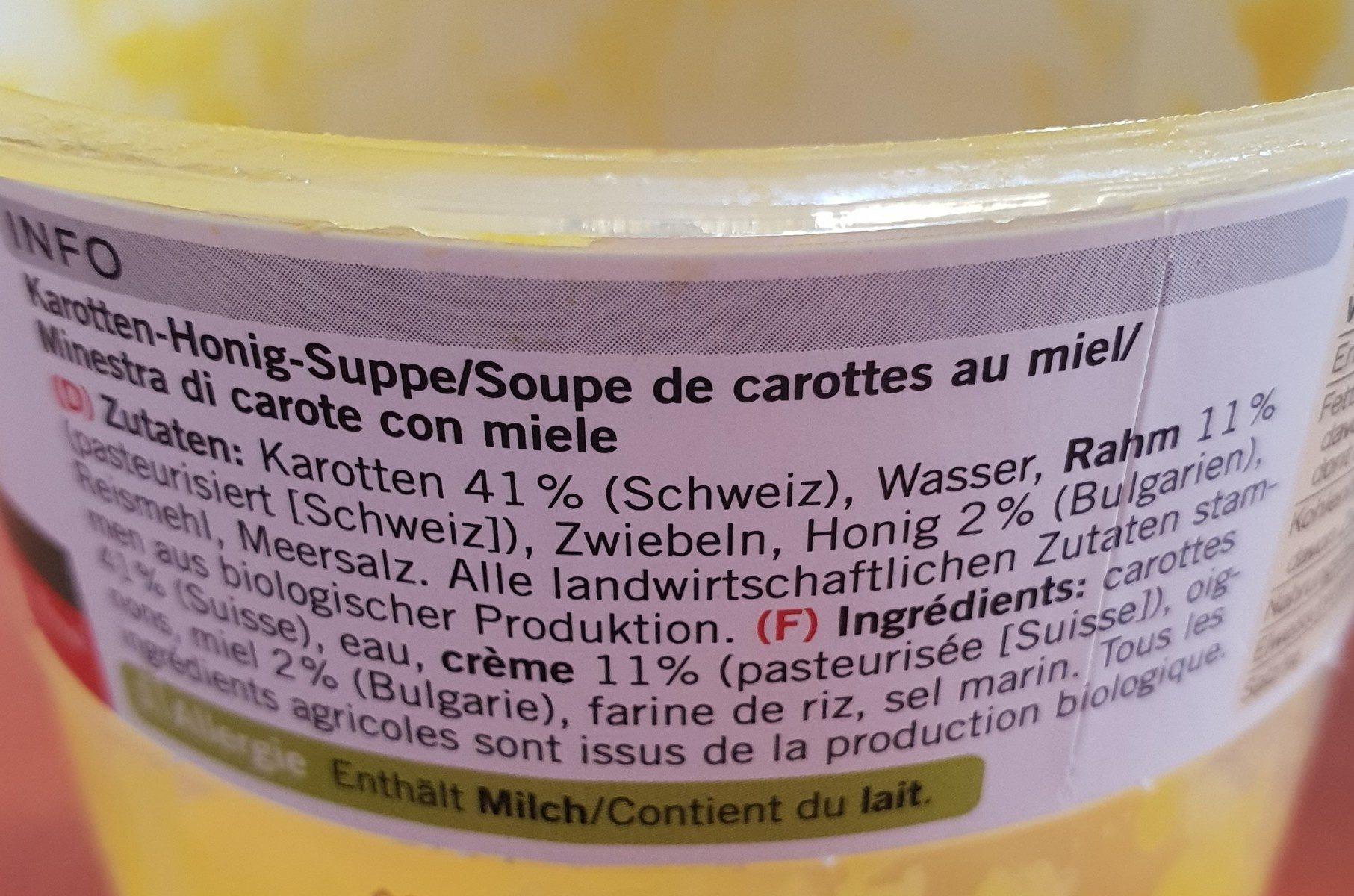 Soupe bio carotte miel - Ingrédients