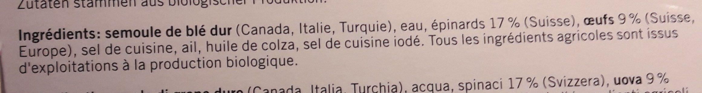 Spaezles aux Épinards - Ingrédients