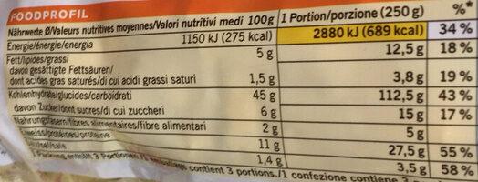 Tortellini à la viande de boeuf - Valori nutrizionali - fr