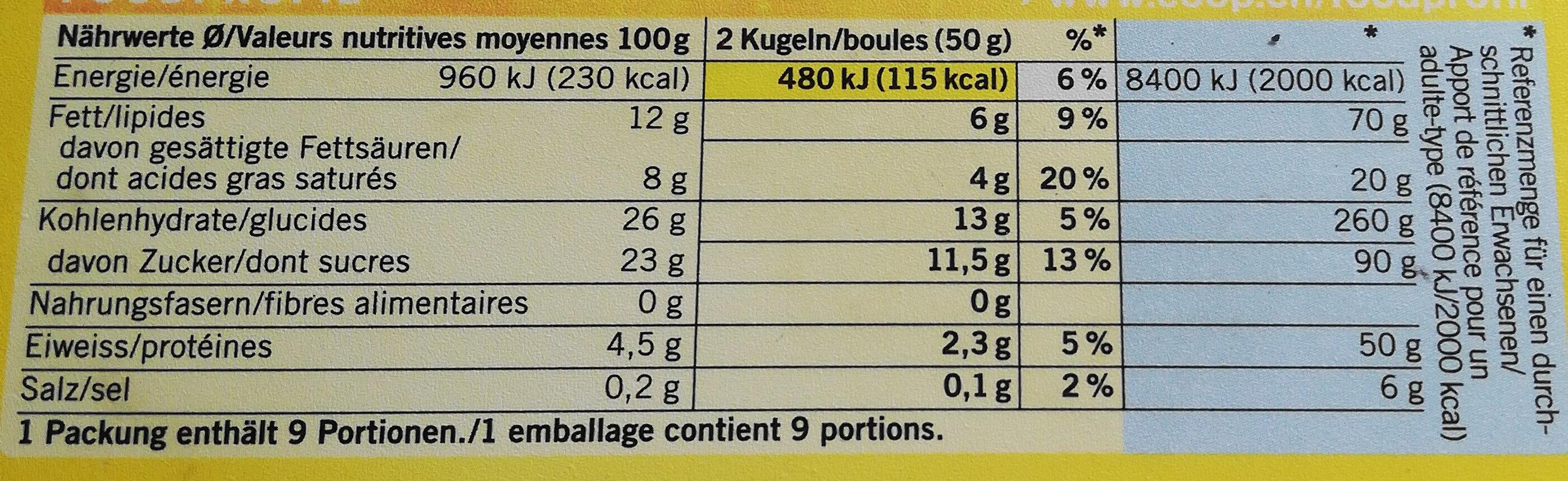 Glace double-crème Vanille Bourbon - Nutrition facts