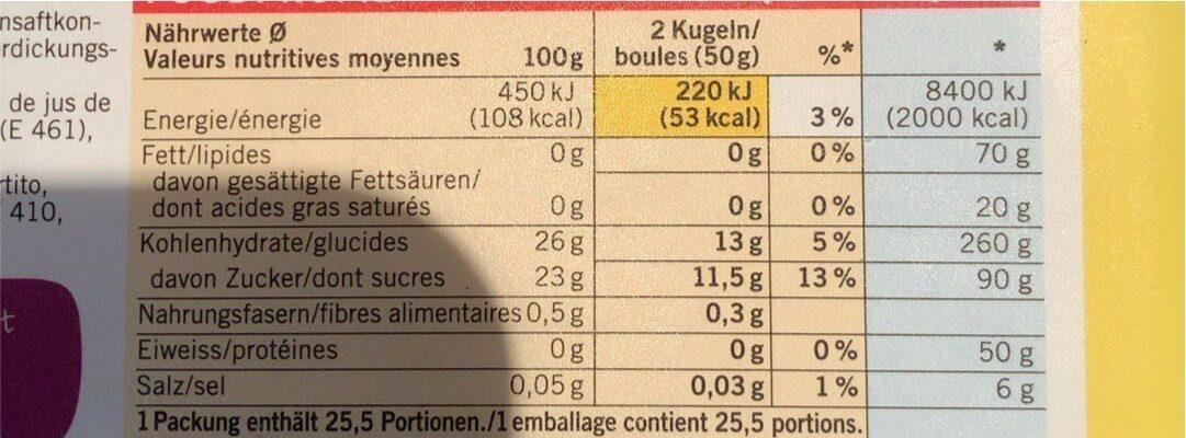 Citron sorbet - Valori nutrizionali - fr