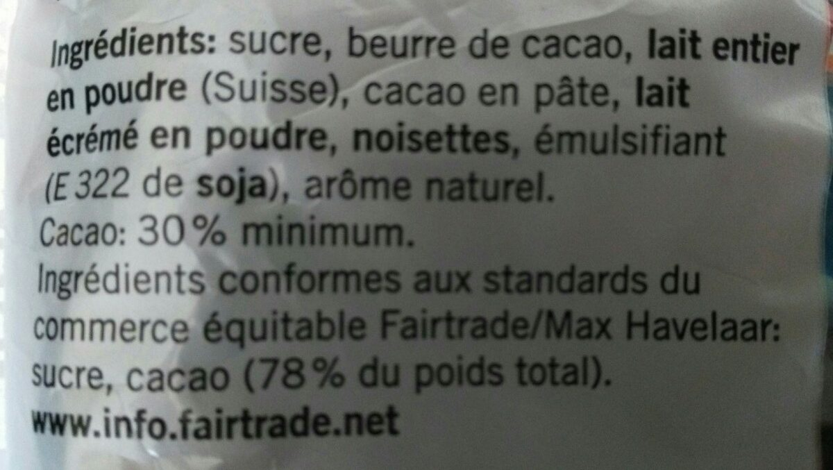 Chocolat suisse - Ingredients