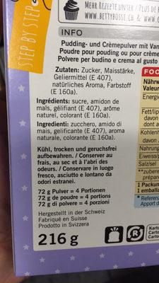 Pudding & crème vanille - Ingredients