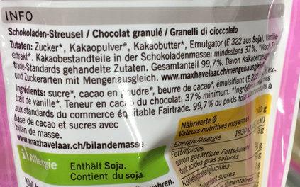 Granulés de chocolat - Inhaltsstoffe - fr