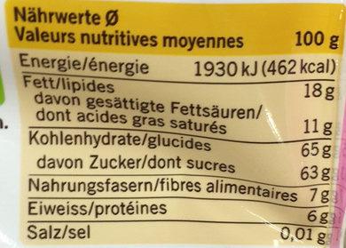 Granulés de chocolat - Nährwertangaben - fr