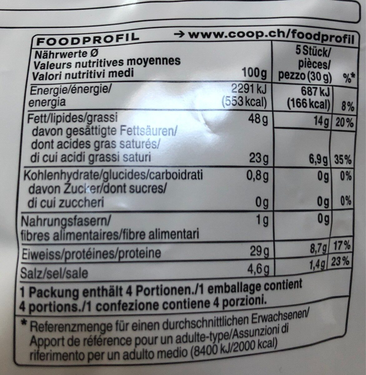 Salami Snack - Nutrition facts