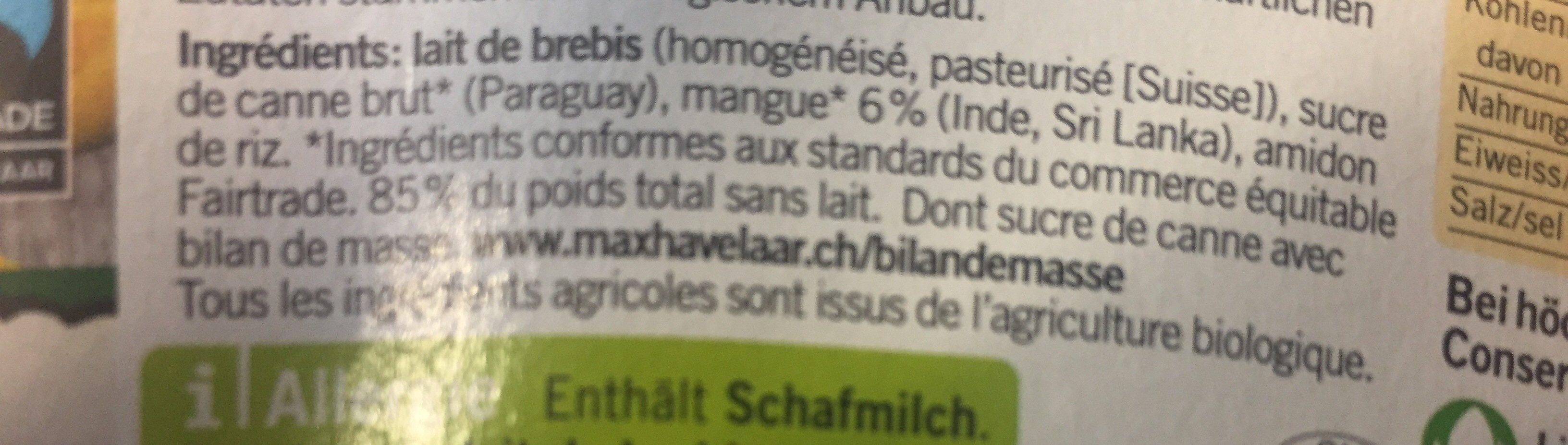 Yogourt au lait de bebris Mangue - Ingredients - fr