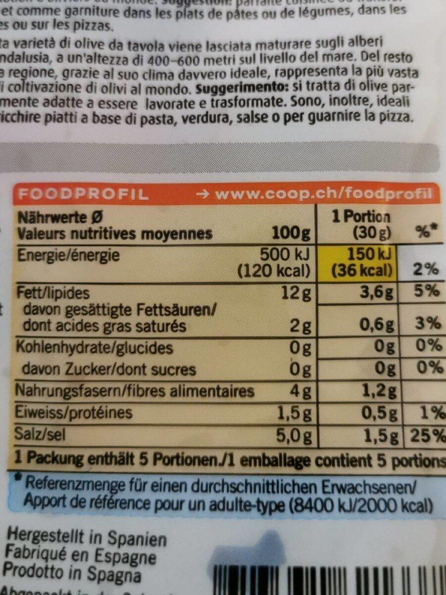 Olives noires denoyautes espagnoles - Informations nutritionnelles - fr
