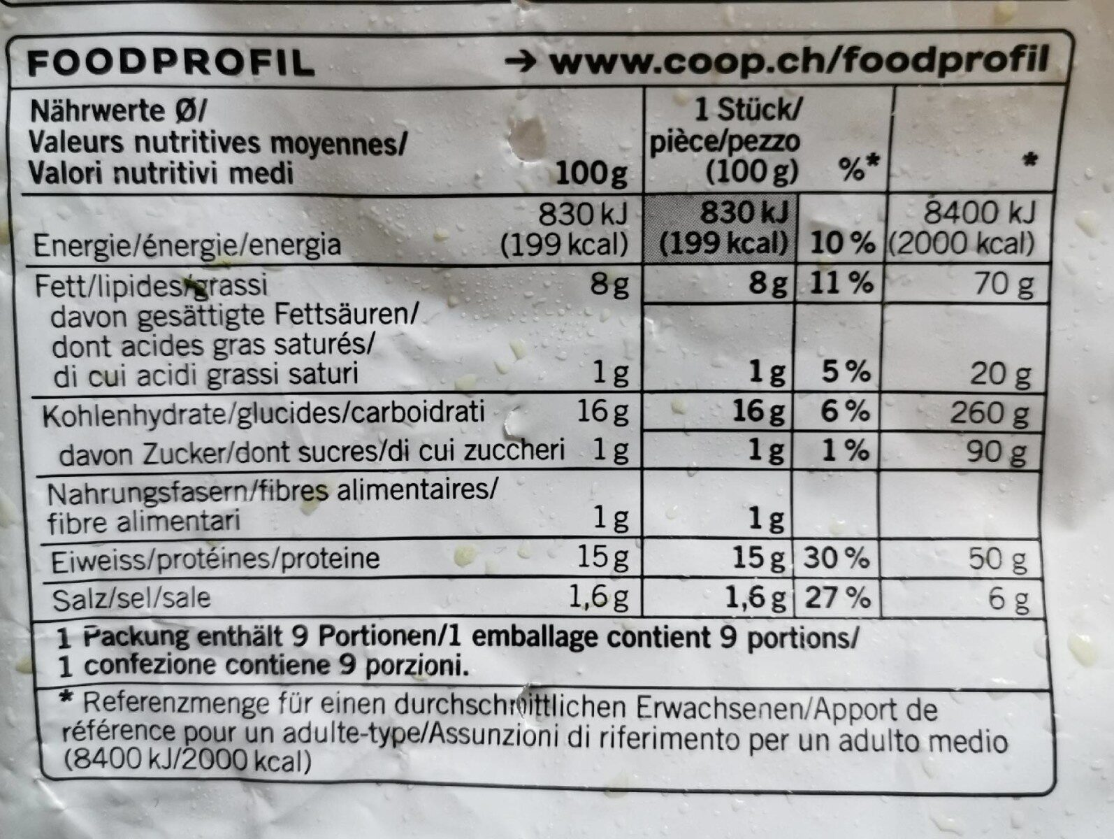 Chiken burger - Valori nutrizionali - fr