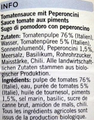 Sugo All' Arrabbiata - Ingredients - fr