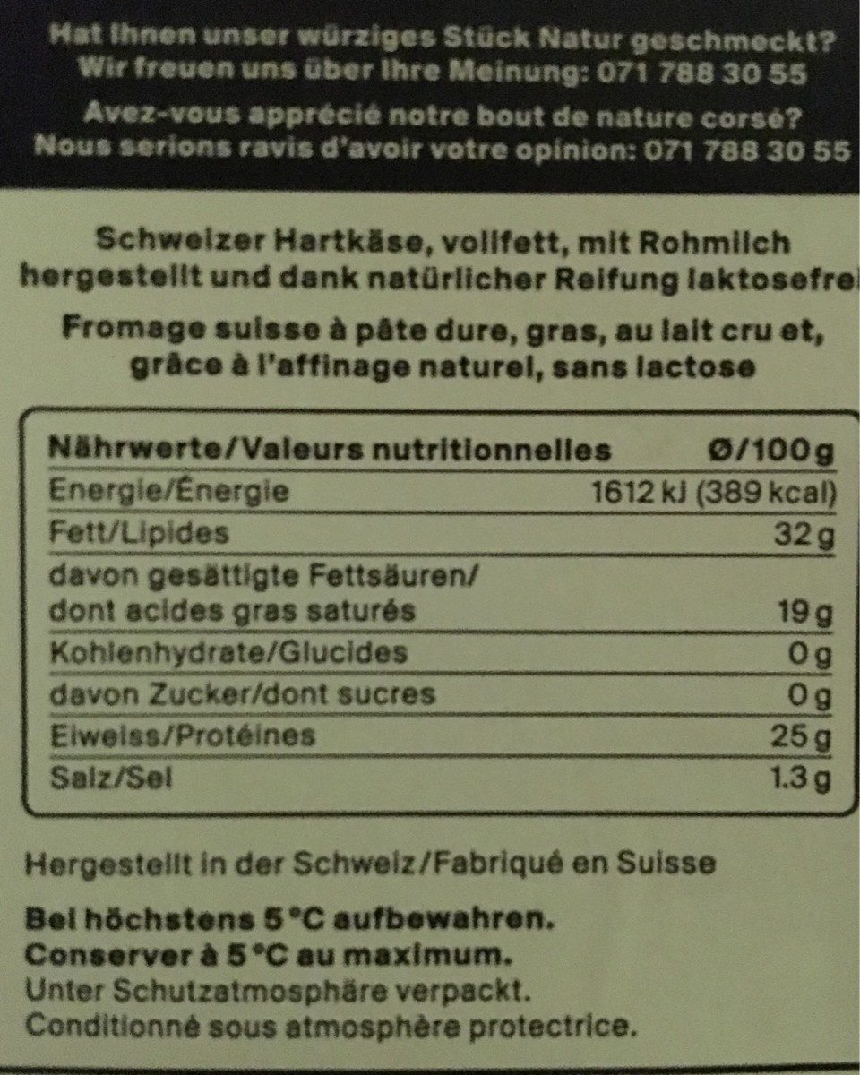 Appenzeller doux et aromatique en tranches - Informazioni nutrizionali - fr