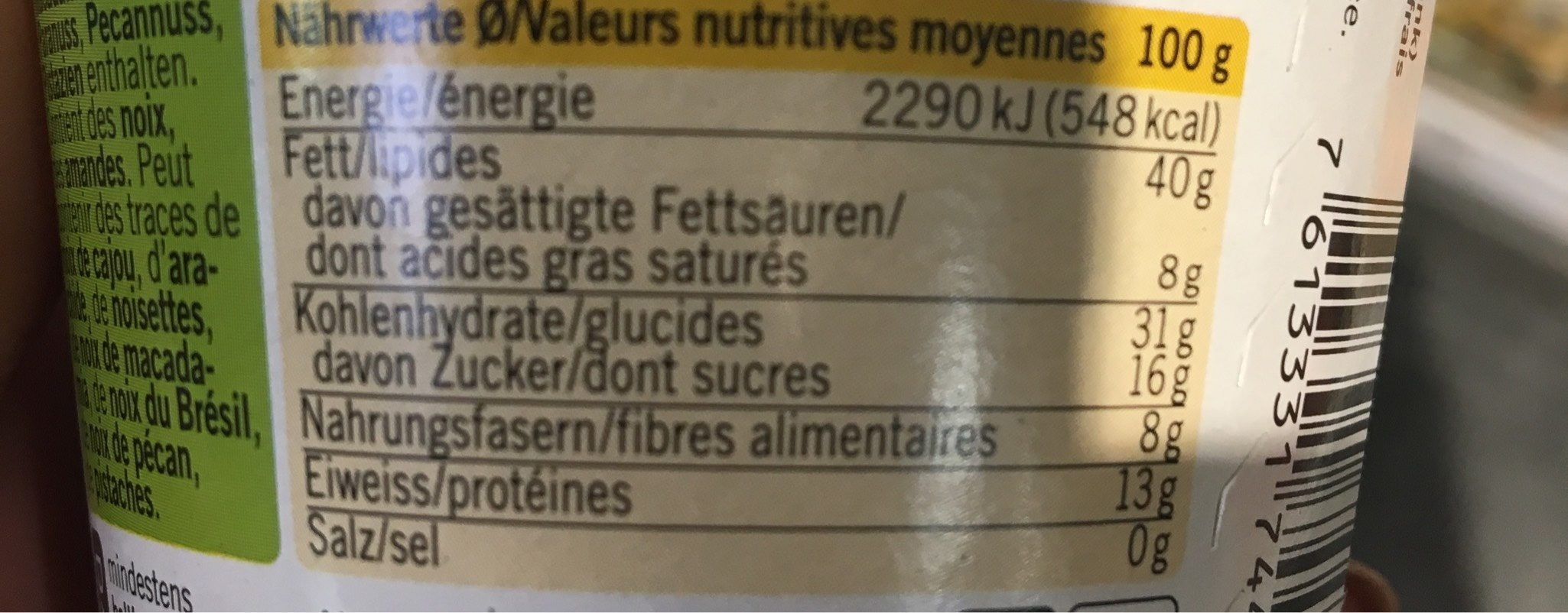 Funky Monky, Karma - Informations nutritionnelles