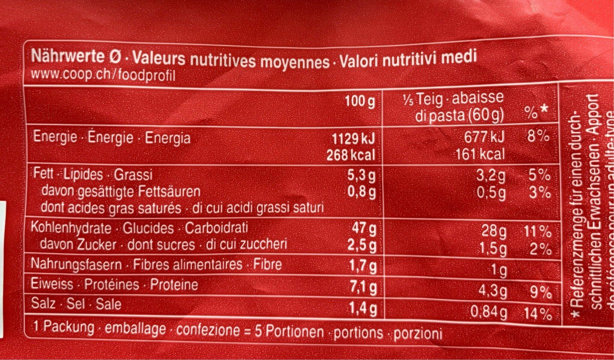 Pâte à pizza abaissée - Informazioni nutrizionali - fr