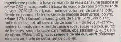 Emincé à La Zurichoise Avec Des Nouilles Coop Betty Bossi - Ingredienti - fr
