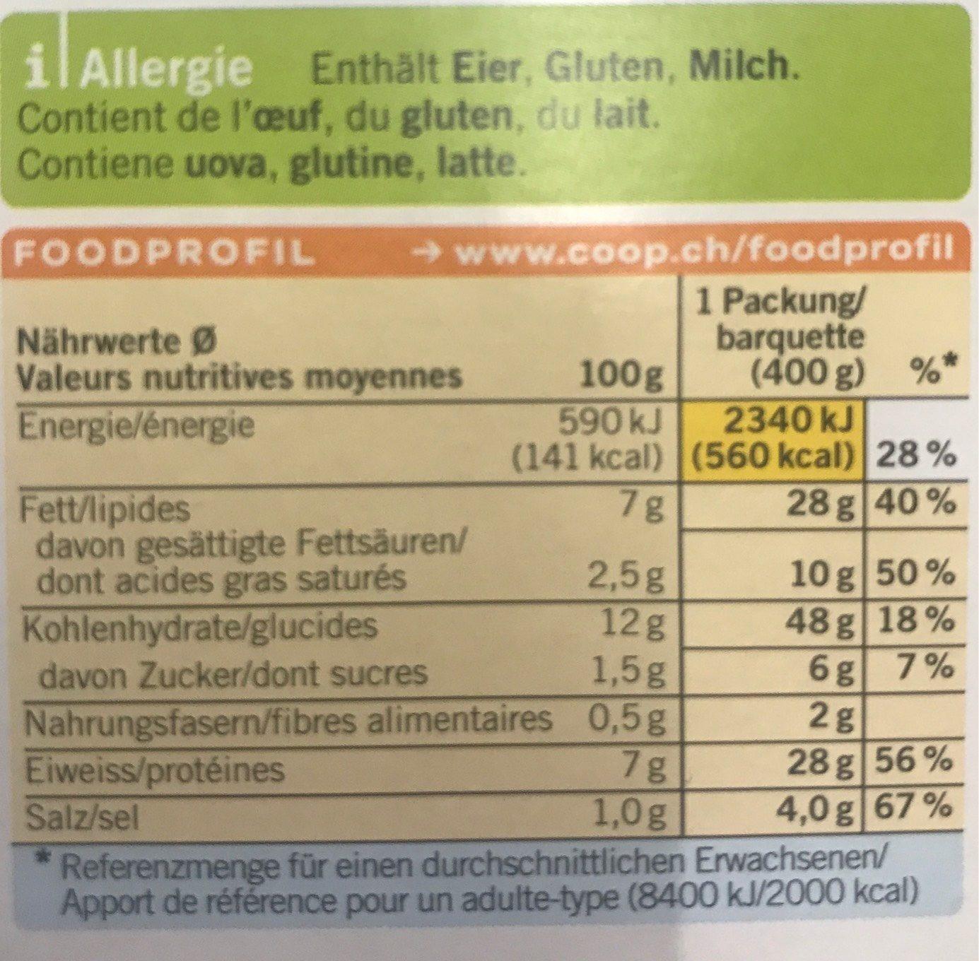 Emincé à La Zurichoise Avec Des Nouilles Coop Betty Bossi - Valori nutrizionali - fr