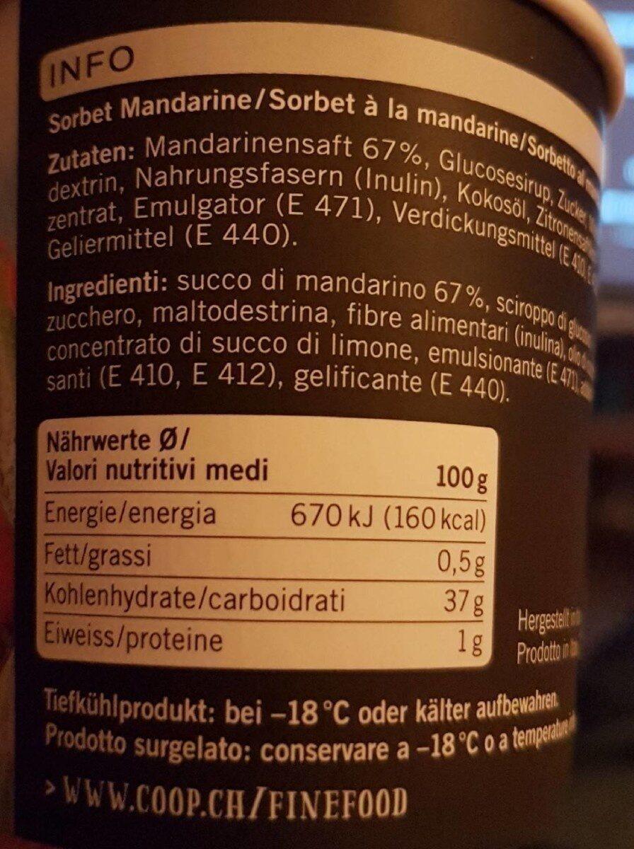 Sorbetto al Mandarino - Valori nutrizionali - fr