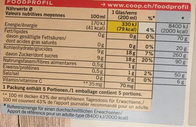 100% Fruits Orange - Informations nutritionnelles - fr