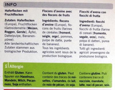Porridge nature - Ingrediënten