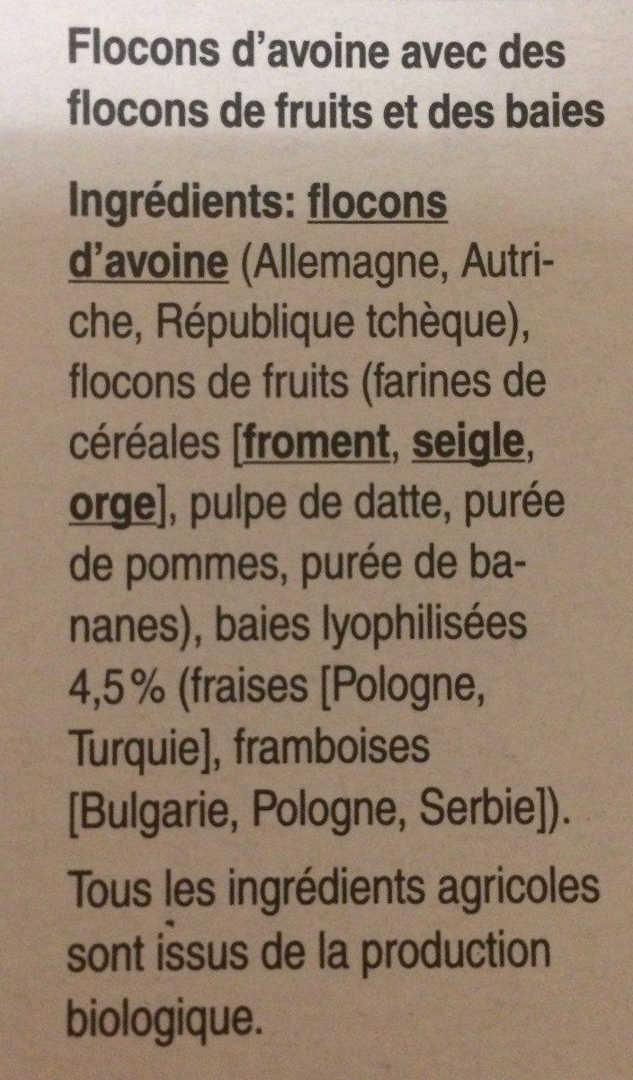 Porridge aux baies sans sucres ajoutés - Ingrédients - fr