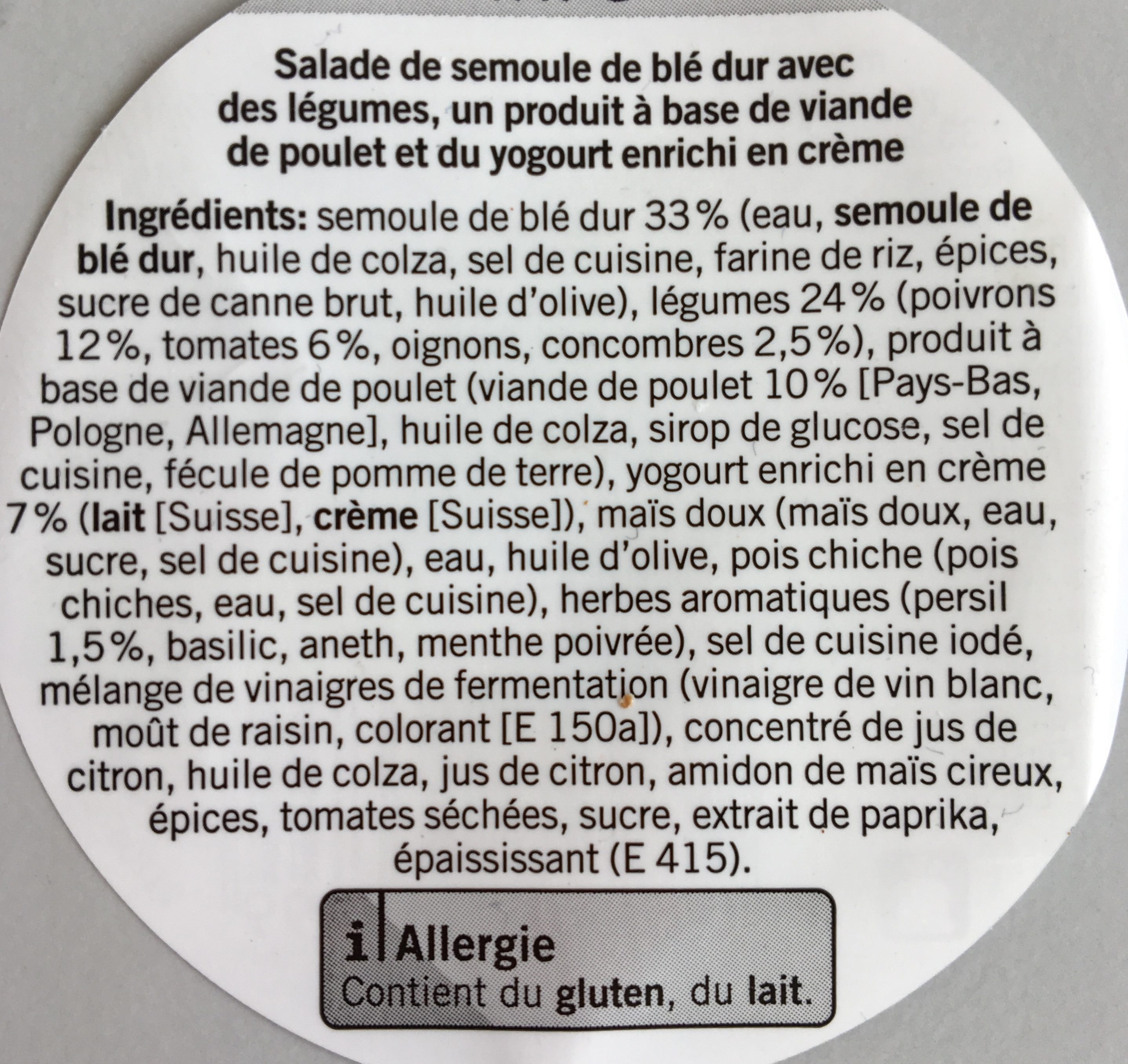 Coop Taboulé Poulet Joghurt 250g - Ingredients